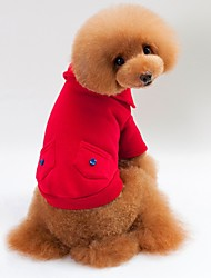 cheap -Cat Dog Shirt / T-Shirt Sweater Hoodie Winter Dog Clothes Red Blue Gray Costume Cotton Fabric Solid Colored Stylish Keep Warm S M L XL XXL