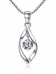 cheap -Women's Synthetic Diamond Pendant Necklace Solitaire Simulated faceter Leaf Ladies Vintage Fashion Zircon Copper Silver Necklace Jewelry For Daily Holiday
