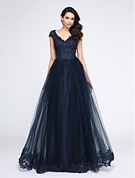 cheap -A-Line V Neck Floor Length Tulle / Beaded Lace / Lace Bodice Elegant / Blue Prom / Formal Evening Dress with Appliques 2020