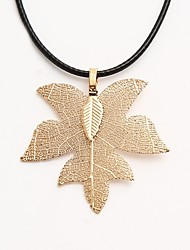 cheap -Women's Pendant Necklace Leaf Classic Fashion Leather Alloy Gold Silver Necklace Jewelry For Daily