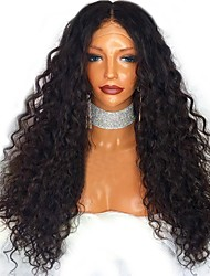cheap -Human Hair Glueless Lace Front Lace Front Wig style Indian Hair Curly Kinky Curly Wig 130% Density Natural Hairline Middle Part 100% Virgin Unprocessed Women's Medium Length Long Human Hair Lace Wig