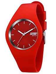 cheap -SKMEI Couple's Sport Watch Quartz Silicone Black / White / Blue 30 m Water Resistant / Waterproof Calendar / date / day Casual Watch Analog Casual Fashion Colorful - Black / Red Red Pink