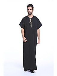 cheap -Men's Daily / Holiday Spring / Summer Long Abaya, Solid Colored Round Neck Short Sleeve Polyester Embroidered Black / Gray / Light Blue