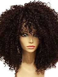 cheap -Human Hair Unprocessed Human Hair Glueless Lace Front Lace Front Wig Middle Part style Brazilian Hair Curly Afro Curly Wig 130% Density with Baby Hair Natural Hairline 100% Virgin Unprocessed / Short
