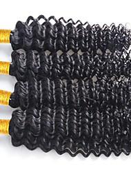 Недорогие -4 Связки Бразильские волосы Крупные кудри Натуральные волосы Человека ткет Волосы Ткет человеческих волос Расширения человеческих волос / 8A