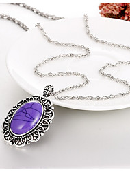 cheap -Women's Onyx Turquoise Pendant Necklace Chain Necklace Ladies Classic Elegant Gemstone Agate Metal Turquoise Dark Brown Purple Red Necklace Jewelry One Panel For Birthday Daily