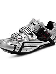 cheap -Tiebao® Adults' Road Bike Shoes Nylon, Fiberglass, Air-flow vents, Non-Slip tread Carbon Fiber Breathable Anti-Slip Cycling black / silver Men's Cycling Shoes / Breathable Mesh