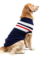cheap -Dog Sweater Winter Dog Clothes Red Dark Blue Costume Large Dog Cotton Striped Casual / Daily S M L XL XXL XXXL