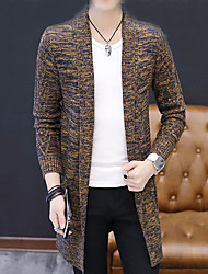 cheap -Men's Casual / Daily Solid Colored Long Sleeve Long Cardigan Sweater Jumper, Round Neck Autumn / Fall Black / Red / Gray M / L / XL