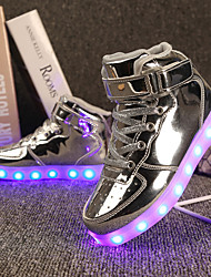 cheap -Girls' LED / Comfort / LED Shoes Patent Leather / Customized Materials Sneakers Little Kids(4-7ys) / Big Kids(7years +) Walking Shoes Lace-up / Hook & Loop / LED Black / Pink / Gold Spring / Winter