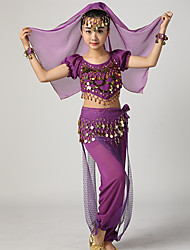 cheap -Belly Dance Outfits Girls' Performance Chiffon Ruffles / Paillette Short Sleeve Dropped Top