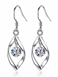 cheap -Women's Diamond Cubic Zirconia Drop Earrings Leaf Ladies Basic Fashion Earrings Jewelry Silver For Wedding Daily Ceremony Masquerade Engagement Party Prom