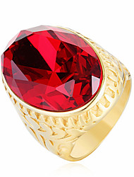 cheap -Men's Statement Ring Cubic Zirconia Red Green Blue Stainless Steel Zircon Fashion Wedding Party Jewelry