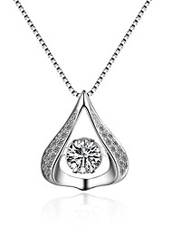cheap -Women's Cubic Zirconia Moissanite Pendant Necklace Classic Vintage Fashion Zircon Silver Silver Necklace Jewelry One-piece Suit For Wedding Engagement