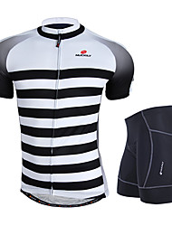 cheap -Nuckily Men's Short Sleeve Cycling Jersey with Shorts Gray Bike Clothing Suit Windproof Breathable 3D Pad Anatomic Design Reflective Strips Sports Polyester Spandex Horizontal Stripes Mountain Bike