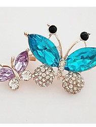 cheap -Women's Crystal Brooches Butterfly Ladies Sweet Crystal Imitation Diamond Brooch Jewelry Gold For Daily