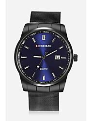 Недорогие -SHI WEI BAO Муж. Наручные часы Кварцевый Нержавеющая сталь Черный Календарь Аналоговый На каждый день Мода Cool - Белый Черный Темно-синий Один год Срок службы батареи / SSUO 377