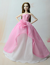 cheap -Doll accessories Doll Clothes Doll Dress Wedding Dress Party / Evening Dresses Wedding Ball Gown Tulle Chiffon Lace For 11.5 Inch Doll Handmade Toy for Girl's Birthday Gifts  Doll Not Included / Kids