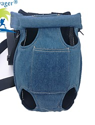 cheap -Cat Dog Harness Travel Bag Strap Portable Breathable Solid Colored Jeans Blue