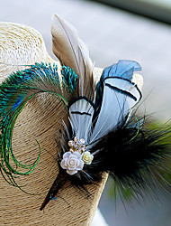 "cheap -Wedding Flowers Boutonnieres / Headdress / Brooches & Pins Wedding / Event / Party Feathers / Goose Feather / Fabrics 6.3""(Approx.16cm)"