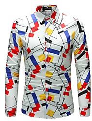 cheap -Men's Daily Plus Size Slim Shirt - Geometric / Color Block Print Classic Collar White / Long Sleeve / Spring / Fall