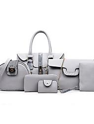 cheap -Women's Zipper PU Bag Set Bag Sets 6 Pieces Purse Set Black / Brown / Light Grey