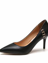 cheap -Women's Heels Stiletto Heel Pointed Toe / Closed Toe PU Comfort Spring / Fall Black / White / Khaki / 2-3