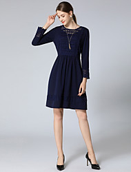 cheap -Women's Daily / Going out Street chic Petal Sleeves A Line Dress - Solid Colored Lace / Cut Out Spring Royal Blue XXXL XXXXL XXXXXL
