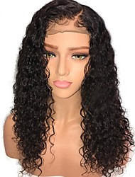 cheap -Human Hair Glueless Lace Front Lace Front Wig Middle Part style Mongolian Hair Curly Jerry Curl Wig 130% Density 10-24 inch with Baby Hair Natural Hairline Unprocessed Pre-Plucked Women's Medium