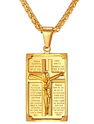 cheap -Men's Pendant Necklace franco chain Cross Classic faith Stainless Steel Gold Silver Necklace Jewelry One-piece Suit For Gift Daily