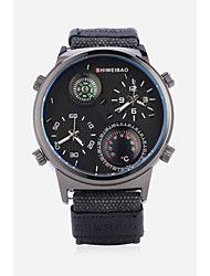 cheap -SHI WEI BAO Men's Sport Watch Fashion Watch Military Watch Quartz Oversized Black / White / Blue Thermometer Compass Dual Time Zones Analog Casual - Black LightBlue Green One Year Battery Life