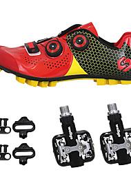 Недорогие -SIDEBIKE Взрослые Велообувь с педалями и шипами Обувь для горного велосипеда Углеволокно Противозаносный Велоспорт Черный / красный Зеленый / черный Муж. Обувь для велоспорта / Искусственное волокно