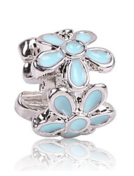 cheap -DIY Jewelry 1 pcs Beads Zircon Alloy Black Light Blue Flower Bead 0.5 cm DIY Necklace Bracelet