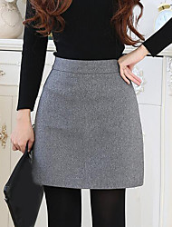 cheap -Women's Going out Casual Cotton A Line Skirts - Solid Colored Winter Black Gray Wine M L XL
