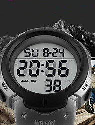 cheap -SKMEI Men's Sport Watch Digital Watch Digital Quilted PU Leather Black 50 m Water Resistant / Waterproof Calendar / date / day Stopwatch Digital Luxury Casual Fashion - Red Green Blue / Noctilucent