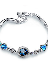 cheap -Women's Crystal Chain Bracelet 3 stone Past Present Future Heart Aquarius Classic Fashion Alloy Bracelet Jewelry Dark Blue / Light Blue For Gift Daily Prom Date Promise