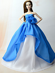 cheap -Doll Dress Dresses For Barbiedoll Blue Chiffon Dress For Girl's Doll Toy / Kids