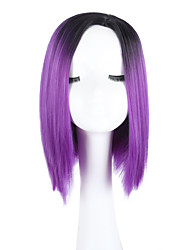 cheap -Synthetic Wig Straight Straight Bob With Bangs Wig Black / Purple Synthetic Hair Ombre Hair Middle Part Black Purple