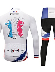 cheap -CYCOBYCO Men's Long Sleeve Cycling Jersey with Tights Red and White Bike Pants / Trousers Jersey Tights 3D Pad Quick Dry Reflective Strips Sports Lycra Nature & Landscapes Mountain Bike MTB Road Bike