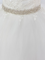 cheap -Satin / Tulle Wedding / Special Occasion Sash With Rhinestone Women's Sashes