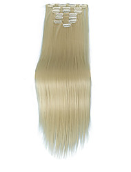 cheap -Human Hair Extensions Straight Synthetic Hair Hair Extension Clip In Daily