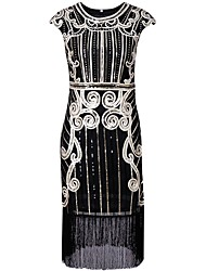 cheap -Charleston 1920s The Great Gatsby Roaring Twenties Flapper Dress Women's Sequins Tassel Costume Black / Silver / Blue Vintage Cosplay Party Homecoming Prom Short Sleeve Knee Length