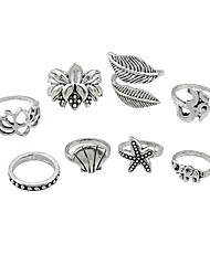 cheap -Women's Knuckle Ring 8pcs Silver Alloy Rock Fashion Street Going out Jewelry Leaf Flower Starfish