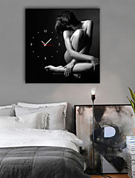 cheap -Modern Style / Rustic Mahogany Square People / Fantacy Indoor Battery Decoration Wall Clock Analog No