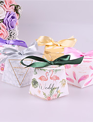 cheap -Square Card Paper Favor Holder with Ribbons Favor Boxes - 25pcs