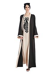 cheap -Arabian Women's A-Line Slip Ethnic Fashion Abaya Dubai Muslim Arabian Dress Abaya Kaftan Dress Muslim Dress Maxi Dresses For Polyster Printing Long Length Dress
