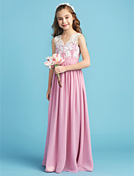 cheap -Princess / A-Line Queen Anne Floor Length Chiffon / Lace Junior Bridesmaid Dress with Lace / Sash / Ribbon / Pleats