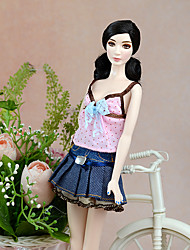 cheap -Doll Dress Doll Outfit Doll Skirt Casual / Daily 2 pcs For Barbiedoll Plaid Polyester Dress For Girl's Doll Toy