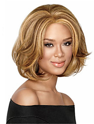 cheap -Synthetic Wig Wavy Wavy Wig Blonde Medium Length Blonde Synthetic Hair Middle Part Blonde