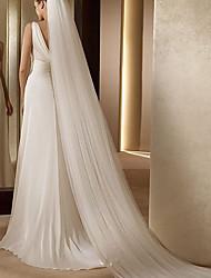 cheap -Two-tier Simple / Unique Design Wedding Veil with Appliques Elastane / Drop Veil